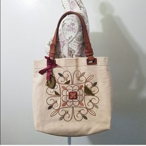 Fossil Penelope bird canvas tote